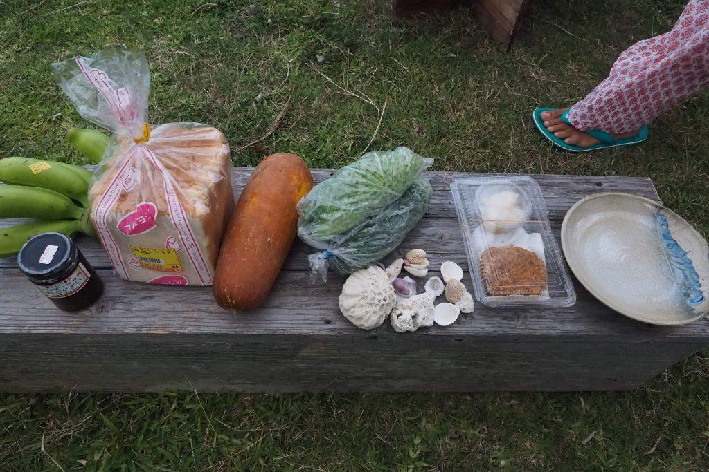 石垣島北部で調達した食材たち